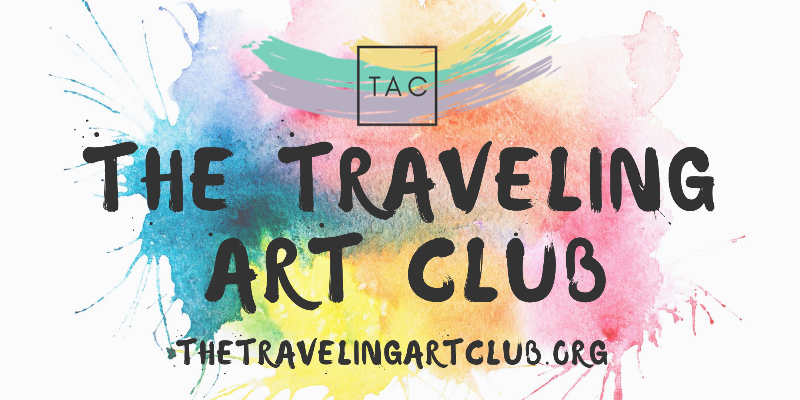 The Traveling Art Club text on a background of paint splotches