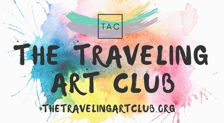 The words The Traveling Art Club on top of splotches of color.