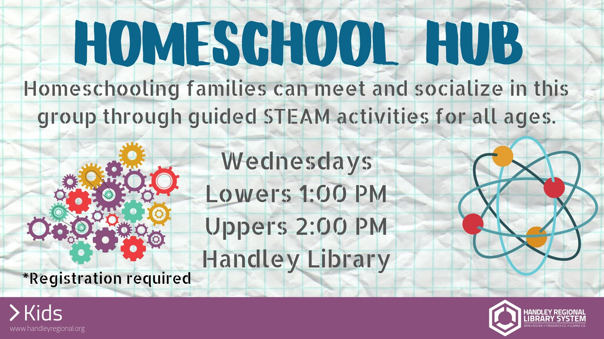 atoms spinning around with homeschool hub event info