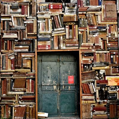 Door surrounded by wall of books