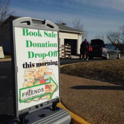 Book Donation Sign in Parking Lot