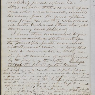 Image shows a page from Captain James William Gray's account of John Brown's Raid on Harpers Ferry in 1859