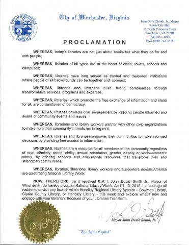 Proclamation for National Library Week