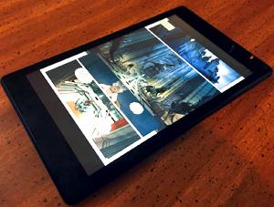 Graphic novel on tablet