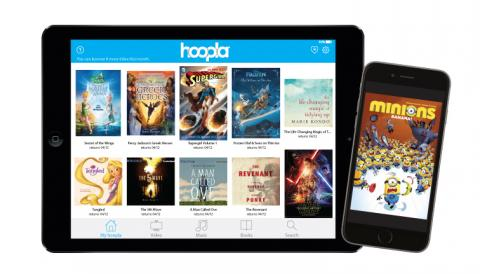 Hoopla on tablet and phone