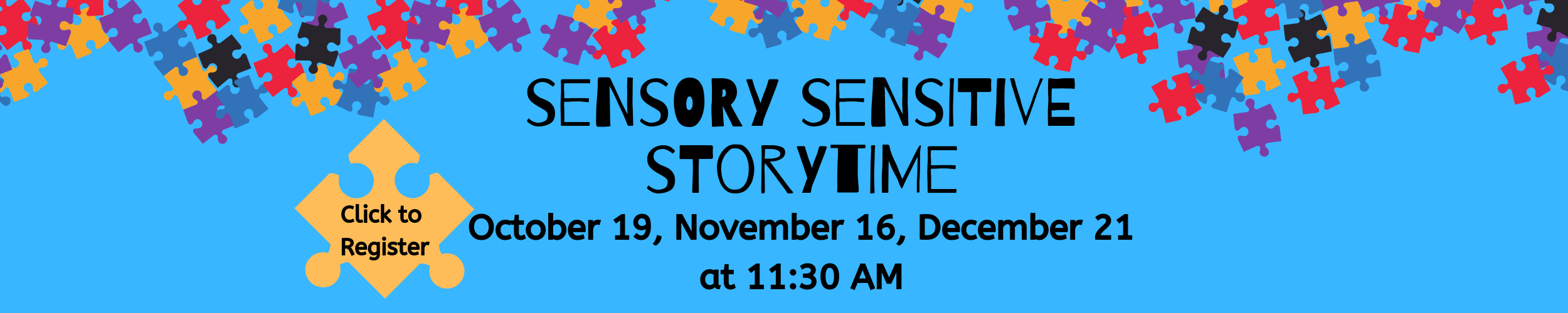 puzzle pieces in different colors with sensory storytime event info