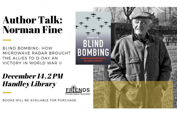 Graphic containing information about Author Norman Fine promoting his book Blind Bombing